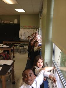 1st grade in lab